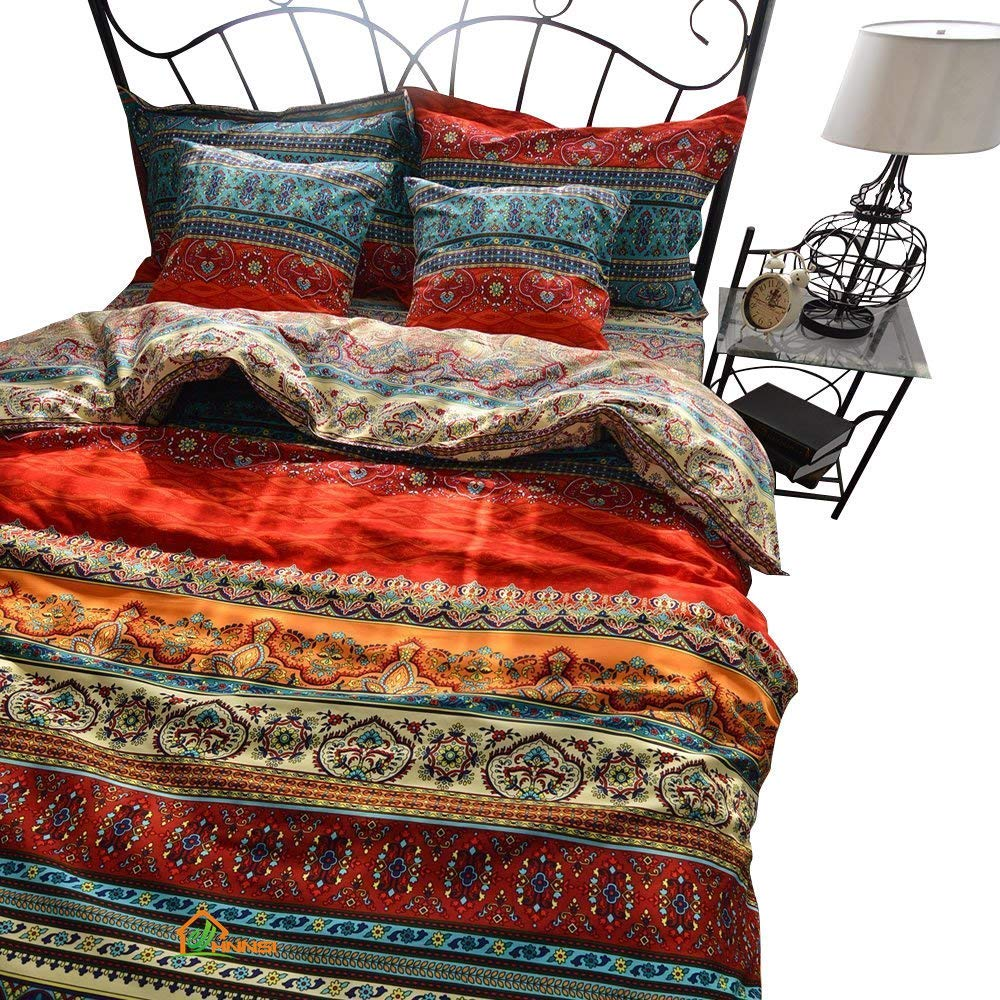 HNNSI Bohemia Exotic Striped Bedding Sets King Size 4 Pieces, Brushed Cotton Boho Duvet Comforter Cover with Flat Sheet,No Comforter (Flat Sheet Sets, King)