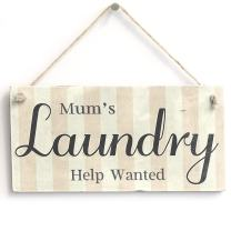 """Meijiafei Mum's Laundry Help Wanted - PVC Sign/Plaque 10""""x5"""""""