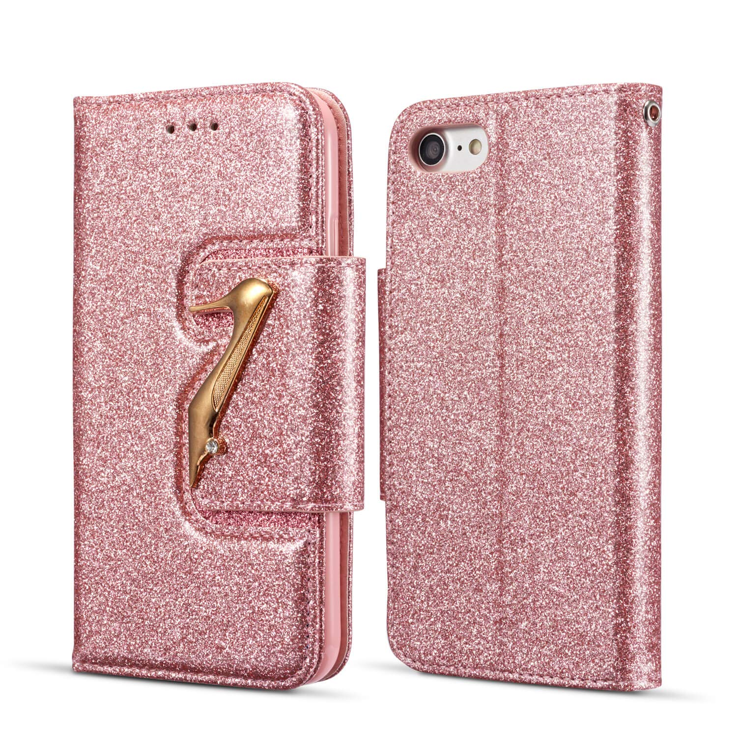 DEFBSC iPhone 6 Plus 6S Plus Wallet Case with Kickstand Card Holder,Bling Glitter PU Leather Folio Flip Case for iPhone 6 Plus/iPhone 6S Plus 5.5 inch,Rose Gold
