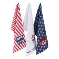 DII 4th of July Kitchen Collection 100% Machine Washable Cotton for Entertaining, Cooking, Baking or Barbeques, Dishtowel Set, Stars & Stripes 3 Piece