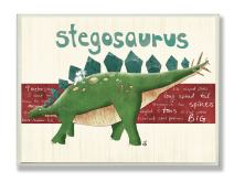 The Kids Room by Stupell Stegosaurus Dinosaur Rectangle Wall Plaque, 11 x 0.5 x 15, Proudly Made in USA