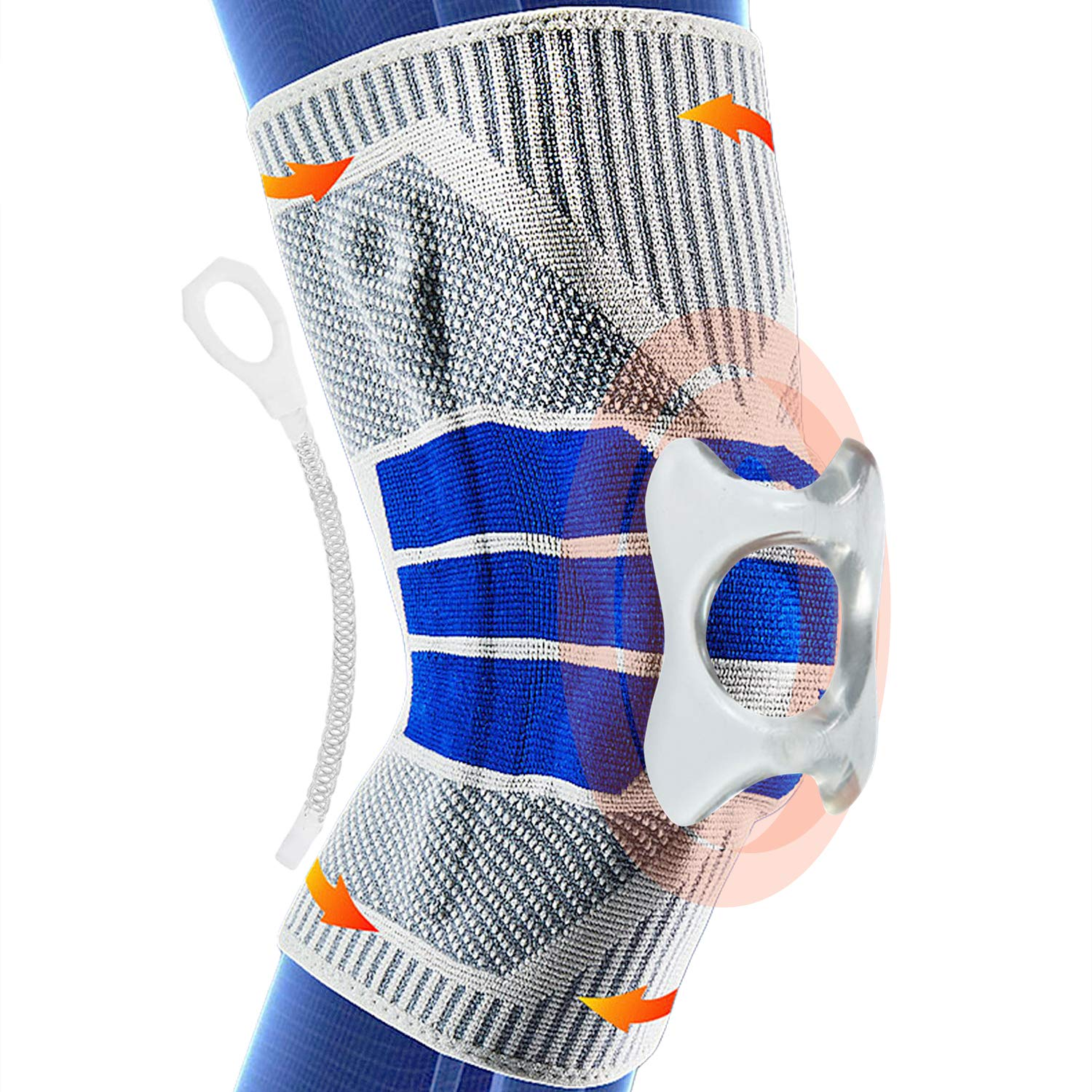 Knee Braces for Knee Pain, Knee Compression Sleeves with Side Stabilizers & Patella Silicone Pads for Knee Support, Meniscus Tear, Reduce Strain & Swelling, Working Out, Pain Relief for Men Women - XL