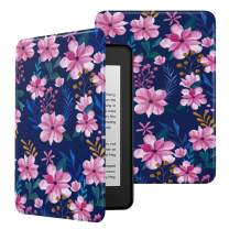 MoKo Case Fits Kindle Paperwhite (10th Generation, 2018 Releases), Premium Ultra Lightweight Shell Cover with Auto Wake/Sleep for Amazon Kindle Paperwhite 2018 E-Reader - Blue & Pink Flower
