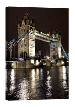 LightFairy Glow in The Dark Canvas Painting - Stretched and Framed Giclee Wall Art Print - City Urban Decor Tower Bridge - Master Bedroom Living Room Decor - 6 Hours Glow - 32 x 46 inch