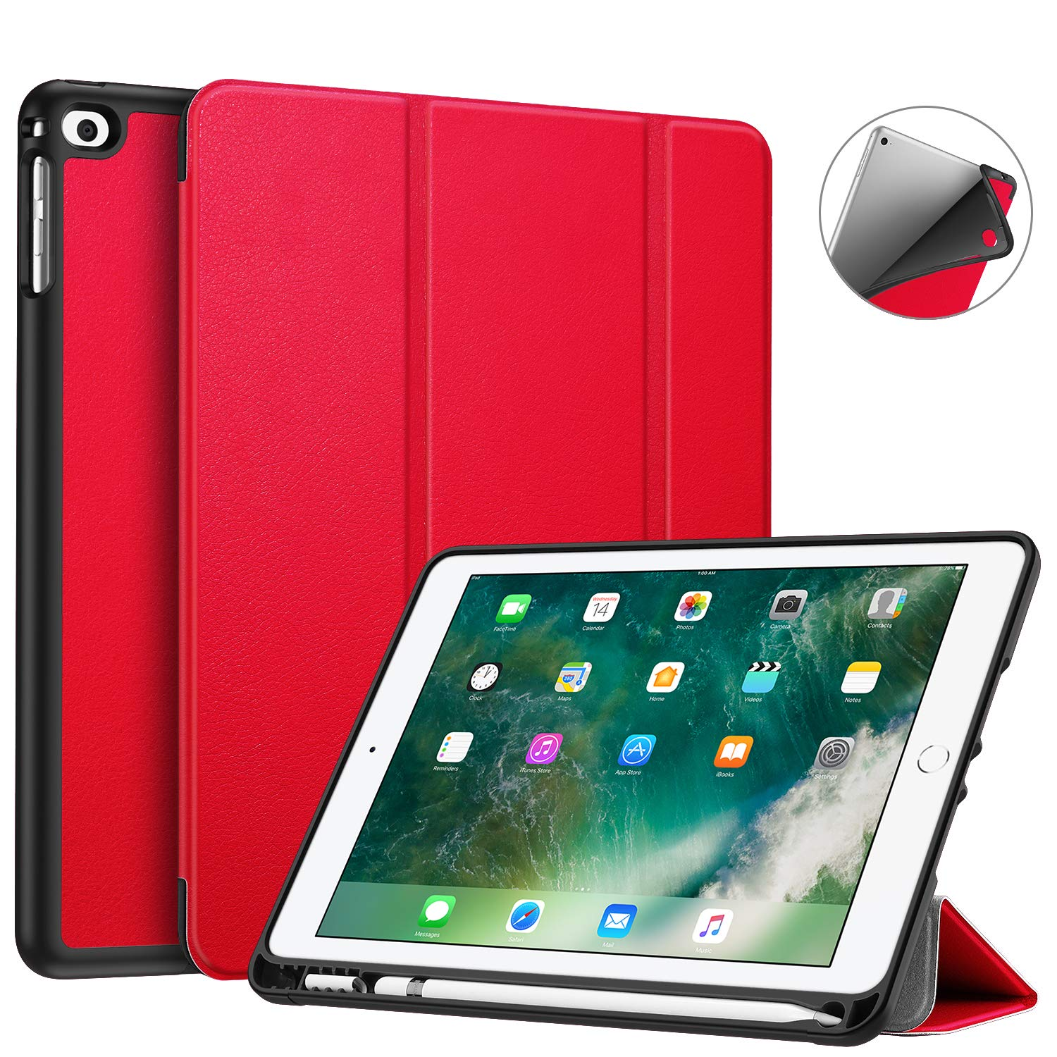 Fintie Case with Built-in Pencil Holder for iPad 9.7 2018 2017 / iPad Air 2 / iPad Air - [SlimShell] Lightweight Soft TPU Back Protective Cover w/Auto Wake Sleep, Red