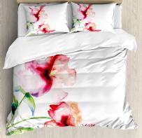 Ambesonne Watercolor Flower Duvet Cover Set, Hibiscus Flowers on Plain Background in Pastel Colors Nature Theme, Decorative 3 Piece Bedding Set with 2 Pillow Shams, Queen Size, Red White