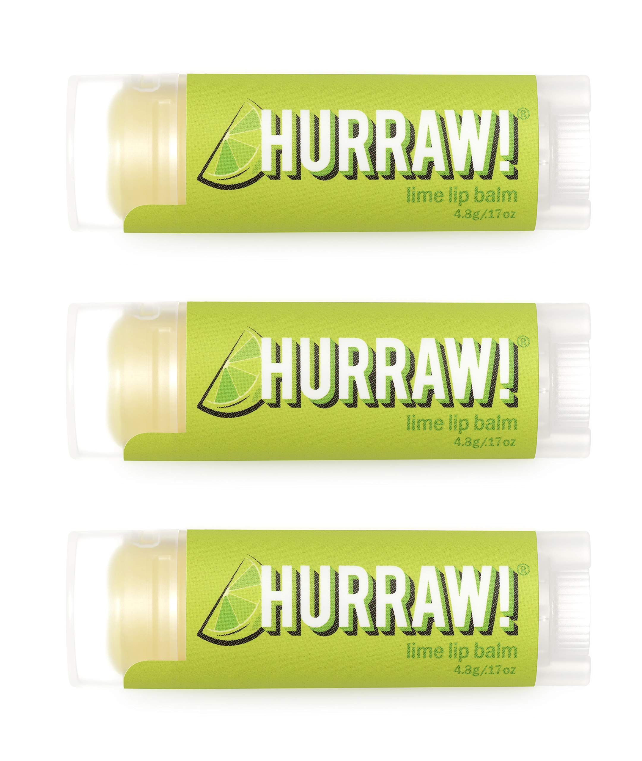 Hurraw Lime Lip Balm, 3 Pack – Organic, Certified Vegan, Cruelty and Gluten Free. Non-GMO, 100% Natural Ingredients. Bee, Shea, Soy and Palm Free. Made in USA