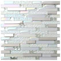 New Design TST Glass Metal Tile Iridescent White Glass Silver Mirror Stainless Steel Blends Interlocking Strip Wall Tiles TSTNB01 (10 Square Feet)