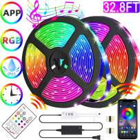 Led Strip Lights Kit, App Control 32.8ft SMD 5050 RGB Color Changing Rope Lights with Remote and Control Box, Music Sync Waterproof Flexible Led Strip for Home and Party Decoration