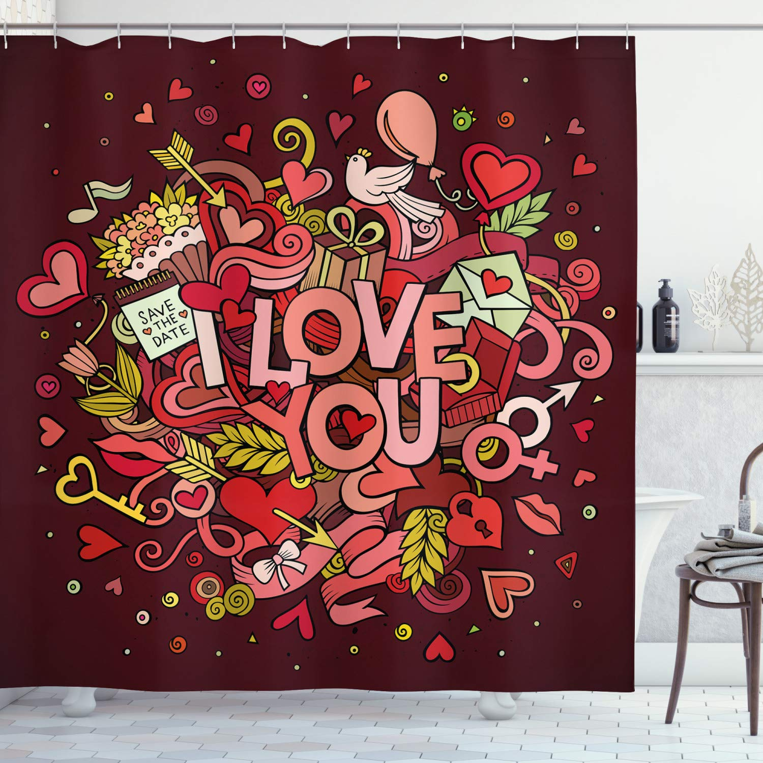 """Ambesonne Romantic Shower Curtain, Retro Funky I Love You Words on Hearts Arrows Baloons Birhday Image, Cloth Fabric Bathroom Decor Set with Hooks, 70"""" Long, Coral Burgundy"""