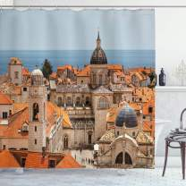 """Ambesonne European Shower Curtain, Aerial View on The Old City of Dubrovnik Walls Medieval Croatia European View, Cloth Fabric Bathroom Decor Set with Hooks, 75"""" Long, Beige Orange"""