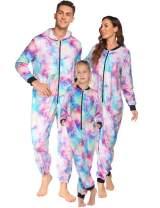 Ekouaer Family Matching Pajamas Set Fleece Onesie Sleepwear Tie Dye Parent-Child Zipper Jumpsuit