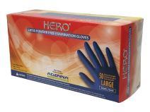 Adenna HER006 Hero 14 mil Latex Powder Free Exam Gloves (Blue, Large) Box of 50