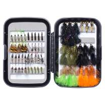 Bassdash Fly Fishing Flies Kit Fly Assortment Trout Bass Fishing with Fly Box, 36/64/72/76/80/96pcs with Dry/Wet Flies, Nymphs, Streamers, Popper