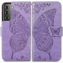 MEUPZZK Wallet Case for Samsung Galaxy S21+/S21 Plus, Embossed Butterfly Flower Premium PU Leather [Folio Flip][Kickstand][Card Slots][Wrist Strap][6.7 inch] Cover for Samsung S21 Plus (A-Lavender)