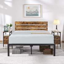 YAHEETECH Rustic Style Metal Platform Bed Frame Mattress Foundation w/Heavy Duty Steel Slat Anti-Slip Support Easy Assembly, Full