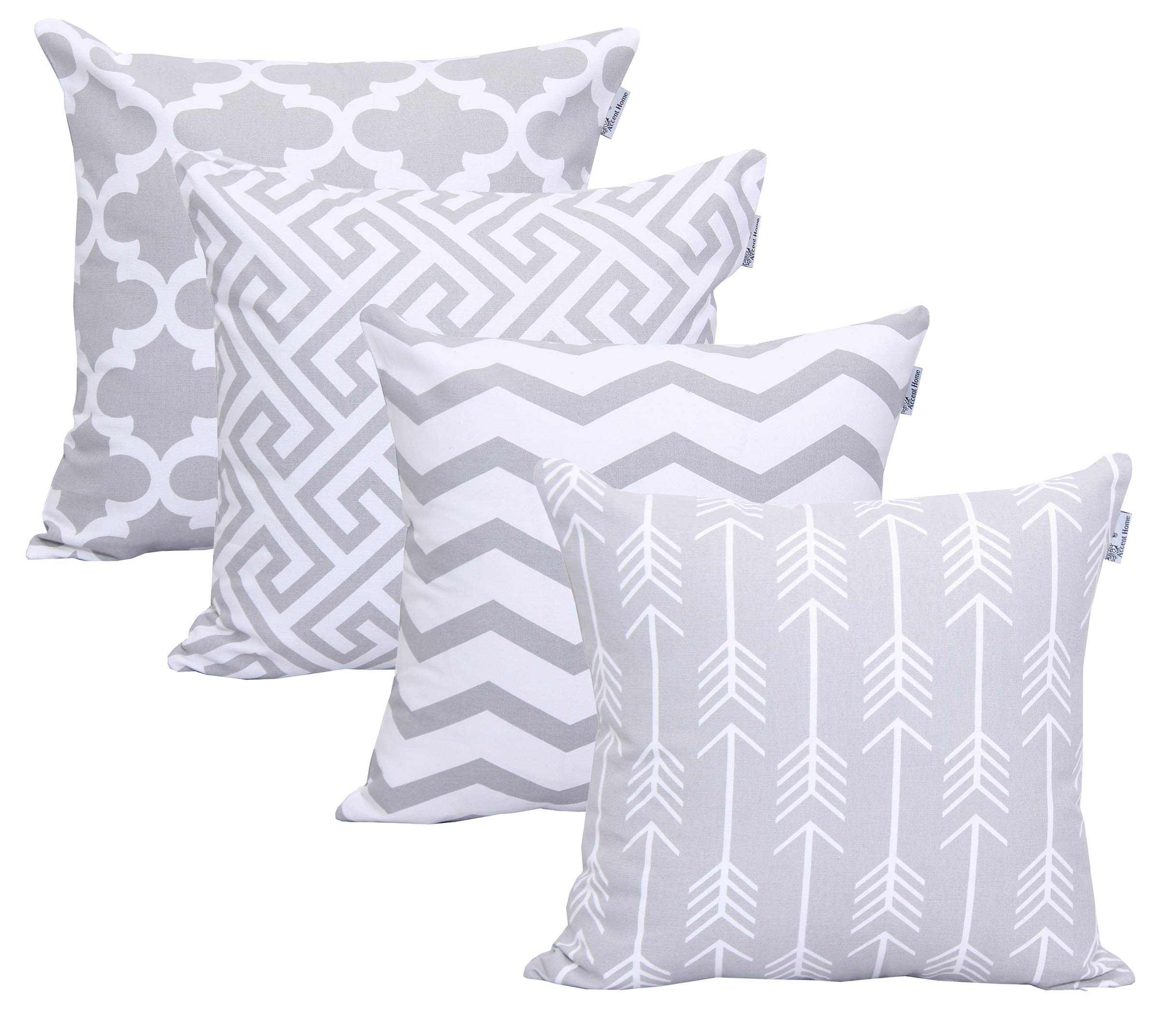 ACCENTHOME Square Printed Cotton Cushion Cover,Throw Pillow Case, Slipover Pillowslip for Home Sofa Couch Chair Back Seat,4pc Pack 18x18 in Silver Ash Color