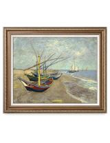 DECORARTS - Boats at Saintes Maire, Vincent Van Gogh Art Reproduction. Giclee Print w/Bronze Frame&Mat for Wall Decor. 30x24, Framed Size: 35x29