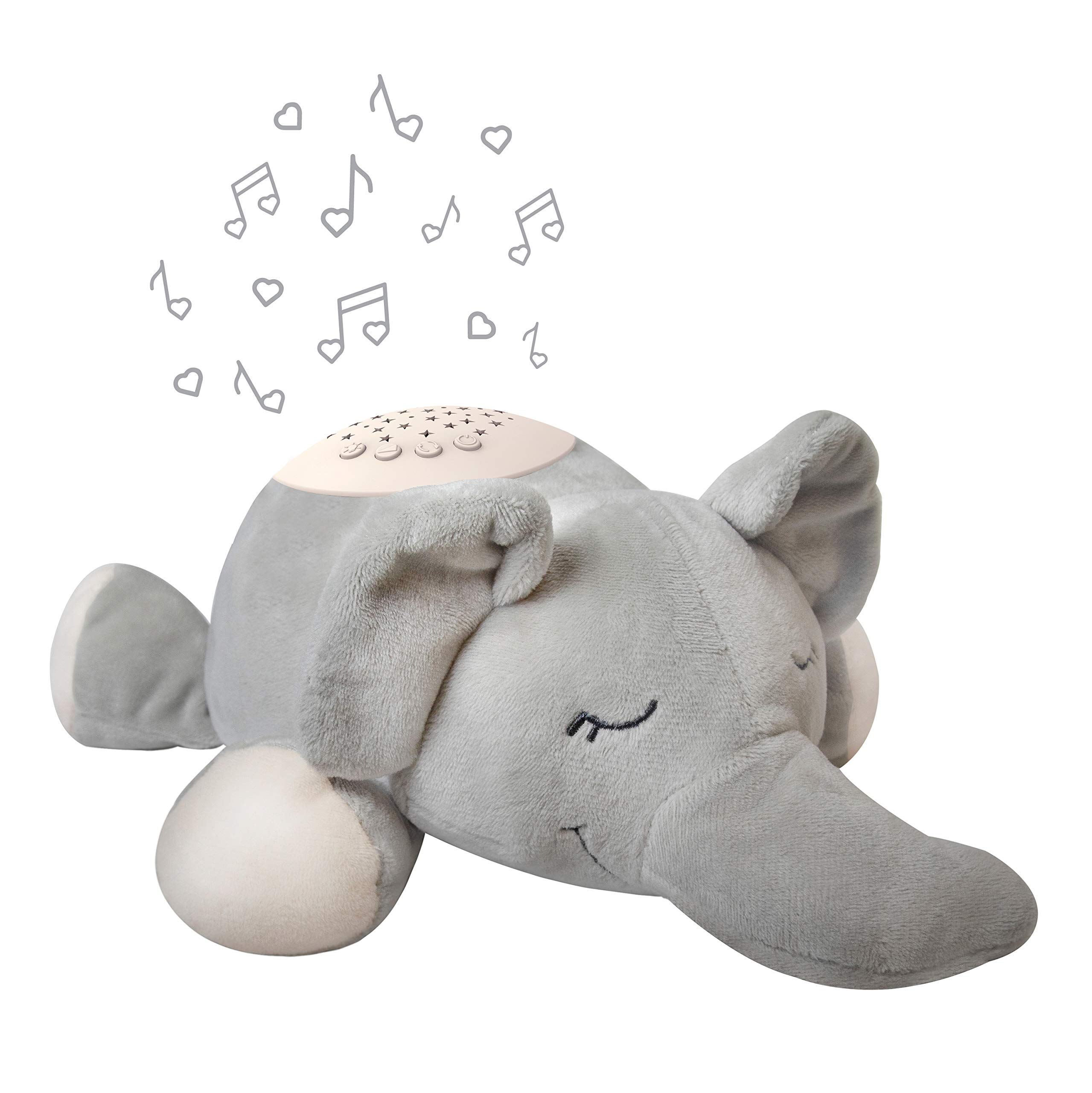 PureBaby Sound Sleepers Portable Sound Machine & Star Projector - Plush Sleep Aid for Baby and Toddlers with Soothing Night Light Display, 10 Lullabies, White Noise, and Heartbeat Sounds (Elephant)