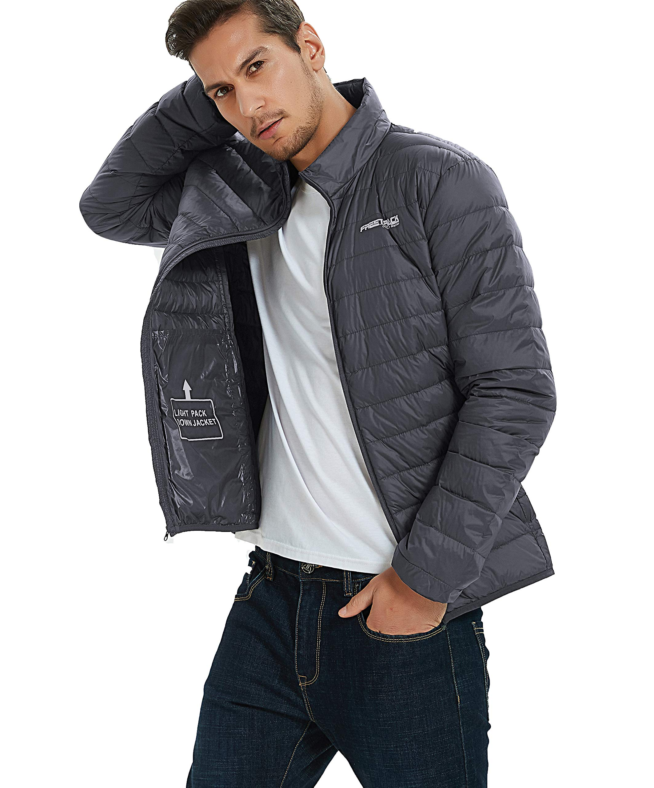 Freetrack Down Jackets for Men Insulated Puffer Packable Lightweight Jacket Winter Outdoor Coat