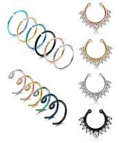 LOYALLOOK 20G 15-28PCS Stainless Steel Fake Septum Ring Nose Hoop Piercing Clicker Ring Septum Retainer Set Body Jewelry Piercing