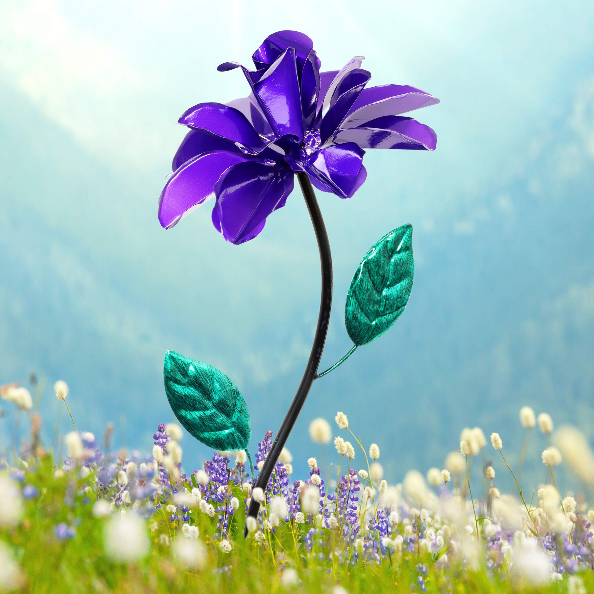 Exhart Purple Rose Wind Spinner Garden Stake - Single Rose Flower Spinner Hand Painted in Metallic Purple