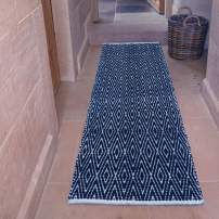 Chardin home 100% Cotton Diamond Runner Rug Fully Reversible, Size -2'x5', Machine Washable (Navy and Ivory)