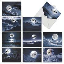 10 Assorted 'Sleigh Moon' Christmas Cards with Envelopes 4 x 5.12 inch, Blank Seasonal Stationery with Mystic Photos of Santa's Sled Silhouetted Against the Moon, Holiday Greeting Cards M6713XSB