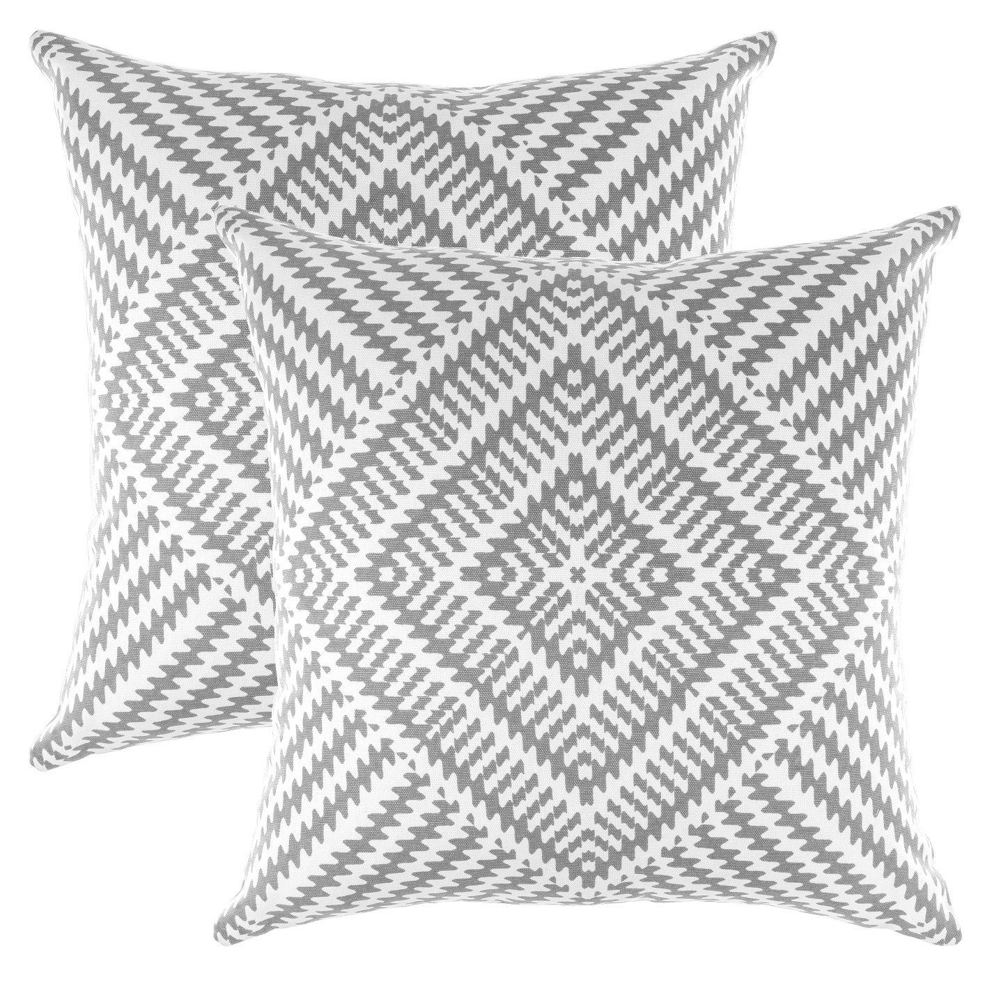 TreeWool, Pack of 2, Throw Pillow Cover Kaleidoscope Accent 100% Cotton Decorative Square Cushion Cases (16 x 16 Inches / 40 x 40 cm; Sleet Grey & Off White)