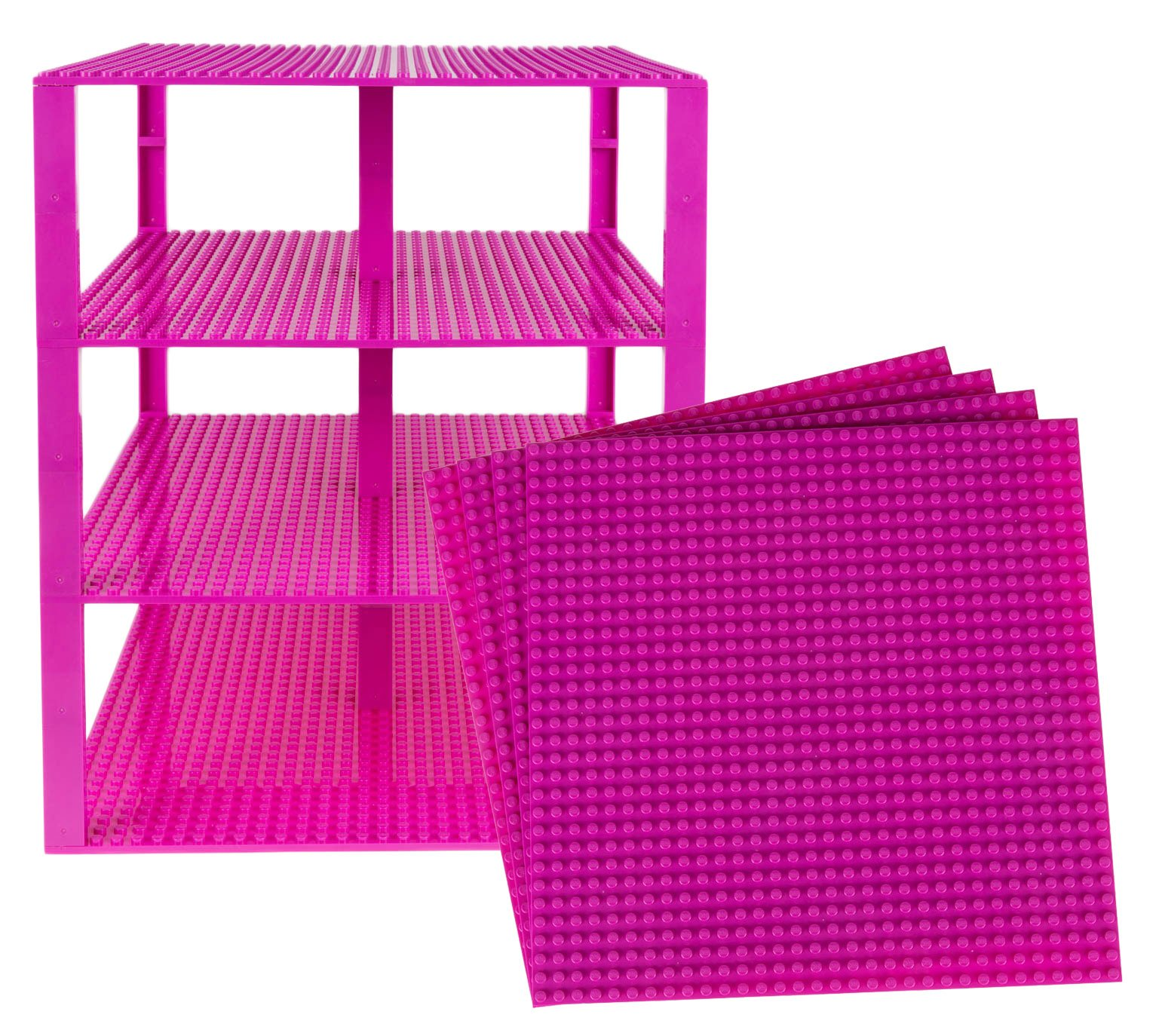 """Strictly Briks Classic Baseplates 10"""" x 10"""" Brik Tower 100% Compatible with All Major Brands   Building Bricks for Towers and More   4 Magenta Stackable Base Plates & 30 Stackers"""