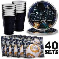 Star Wars Party Supplies 40 Servings - Large Plates, Napkins, Black Plastic Cups, Great Tableware Set for Birthday Parties & Decoration