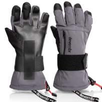 Ski Gloves Waterproof,devembr Warm Snowboard Gloves with Wrist Guard,Black/Gray