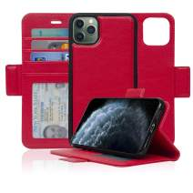 navor Detachable Magnetic Wallet Case with RFID Protection Compatible for iPhone 11 Pro Max [6.5 inch] [Vajio Series] - Red [IP11PMXVJRD2]