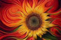 Warped Sunflower XL 5D Paint With Diamonds Full Kit with Free Premium Diamond Pen - 60x40cm Full Canvas Square Drill DIY Diamond Painting Kit Plus Full Toolkit