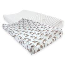 Touched by Nature Unisex Baby Organic Cotton Changing Pad Cover, Elephants, One Size