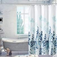 VIS'V Shower Curtain, Waterproof Fabric Shower Curtain 72 x 72 Inch Washable Heavy Duty Shower Curtain with 12 C Shaped Shower Curtain Hooks for Bathroom - Blue Floral