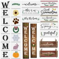 22Pcs Reusable Welcome Stencil for Painting on Wood/ Porch Sign and Front Door ,Large Vertical Welcome Sign Stencil -Comes with Seasonal Stencils