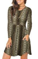 LONGYUAN Women's Long Sleeve T Shirt Dresses Casual Swing Dress with Pockets