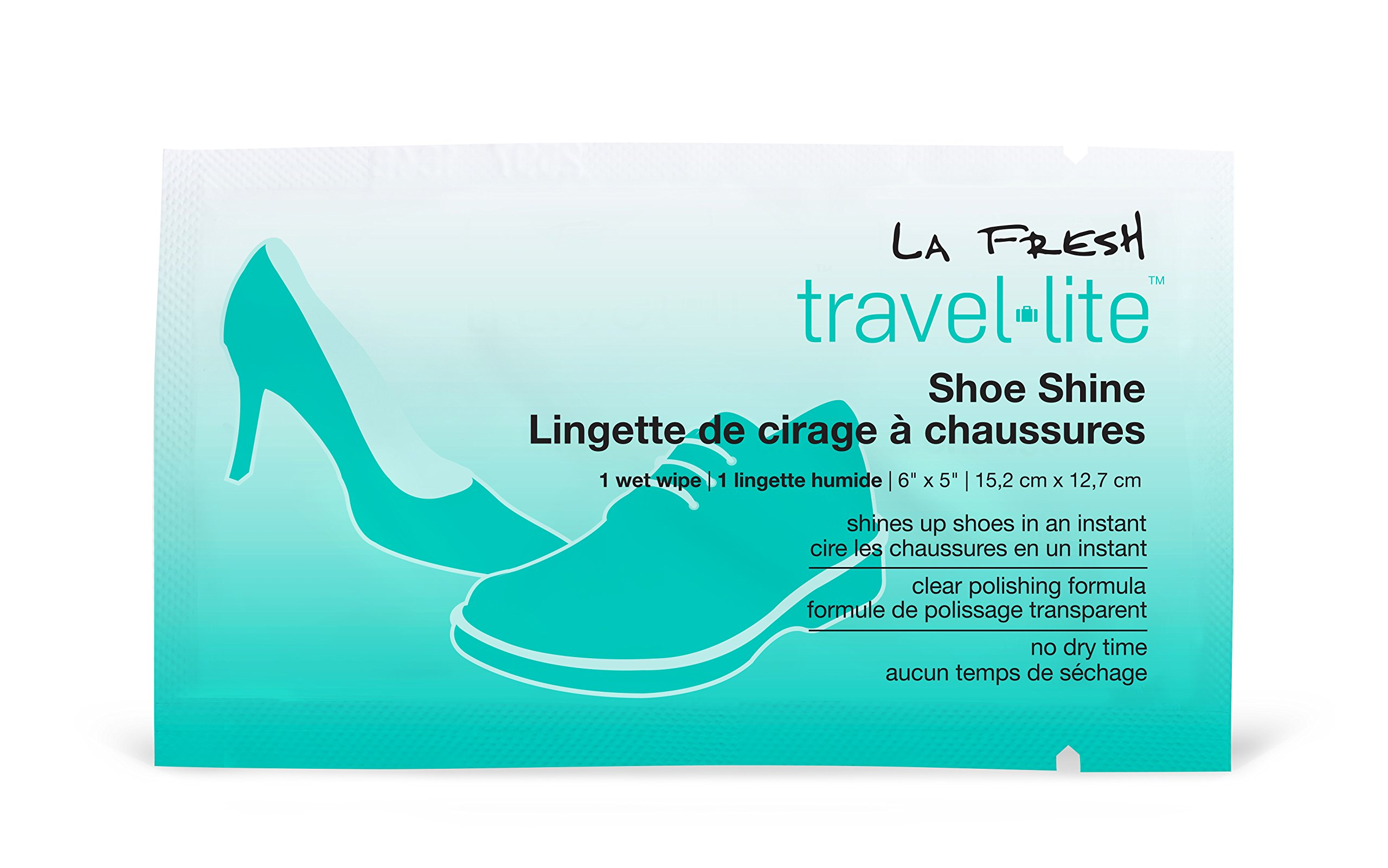 La Fresh Travel Lite Individually Sealed Shoe Shine Wipes (50 count) - Clear Formula - Premoistened & Disposable - Quick Way to Polish Shoes On The Go - For All Leather Colors