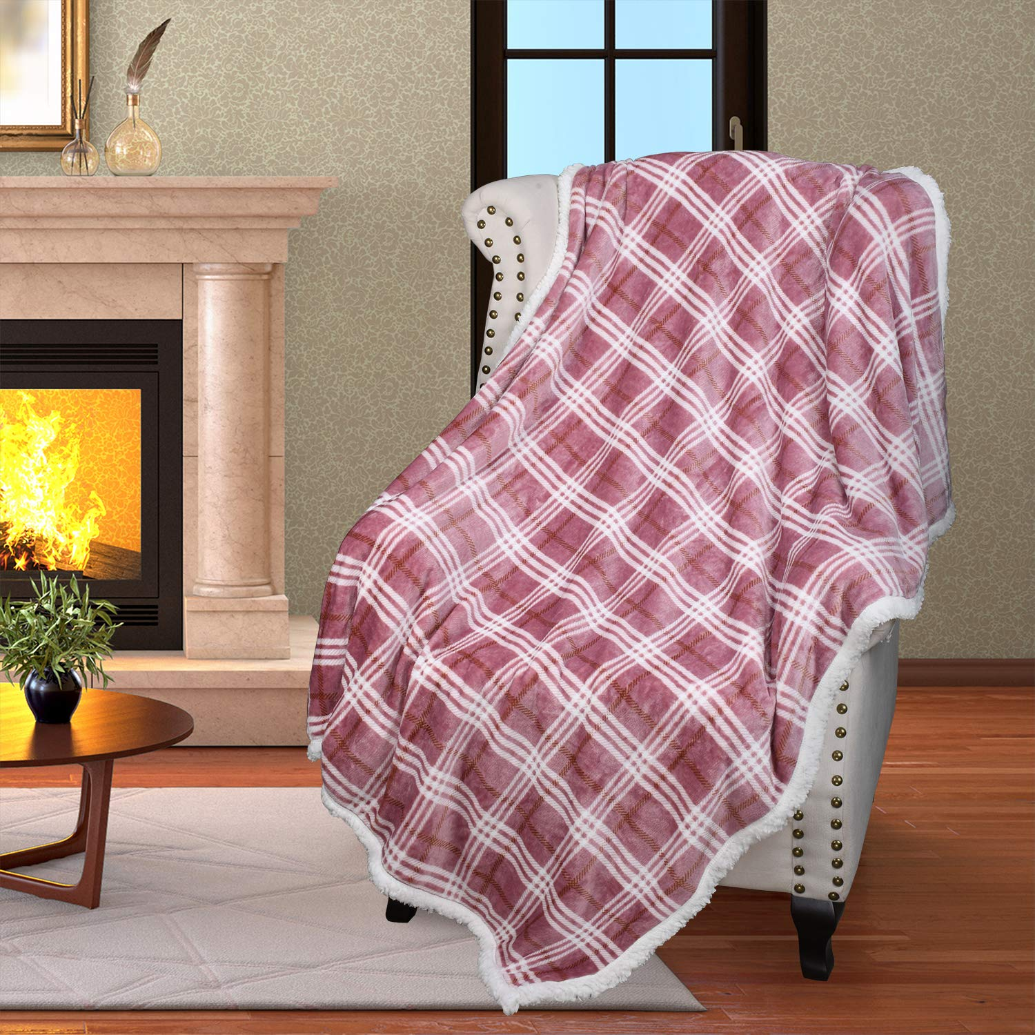 """Plaid Sherpa Throw Blanket,Plush Flannel Throws for Couch and Bed,Super Soft Reversible TV Blanket,Comfy Caring Gift 50""""x60"""",Buffalo Pink"""