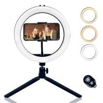 """NVOSTORY 10"""" Selfie Ring Light with Tripod Stand and Phone Holder, Dimmable Desk Led Light for Makeup, Photography, Live Streaming, YouTube, 3 Light Modes & 10 Brightness Level for iPhone/Android"""