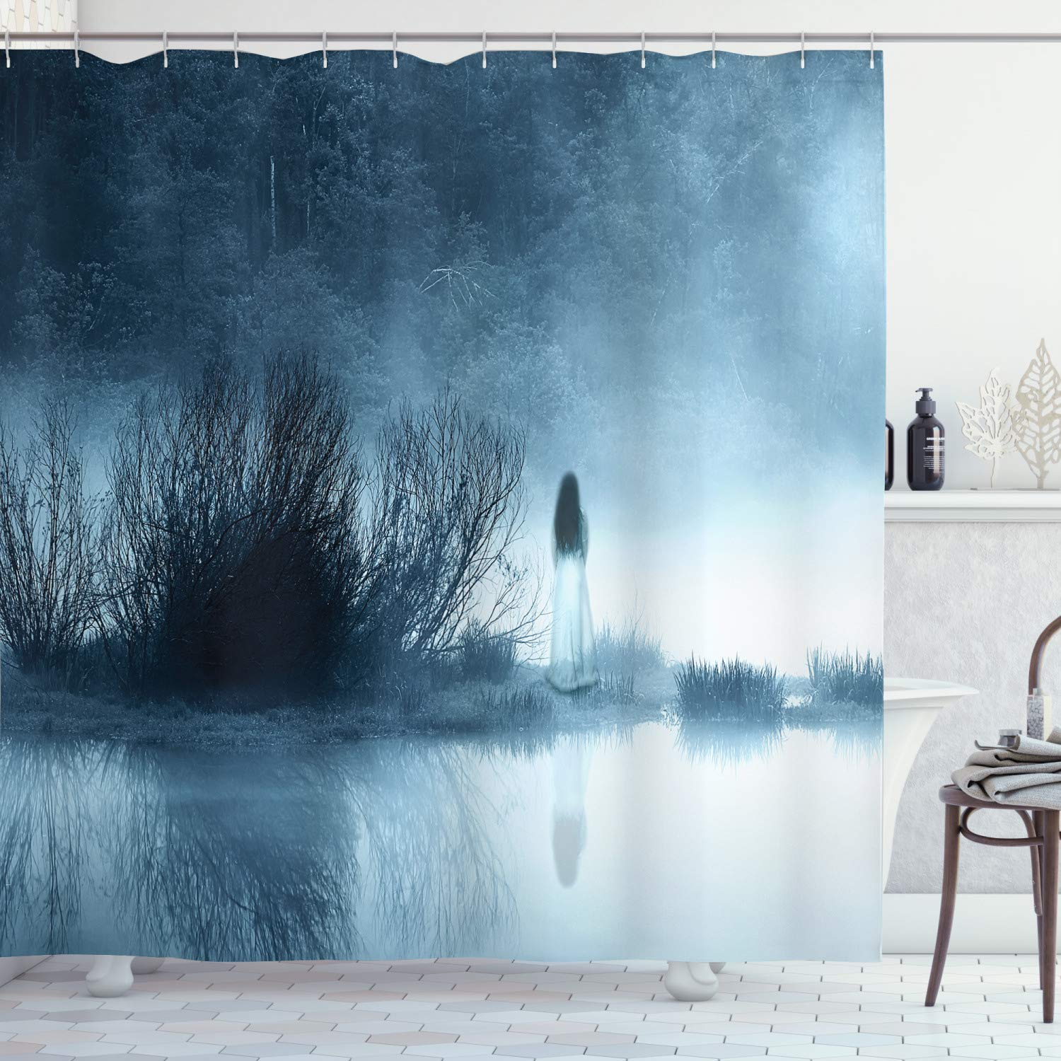 """Ambesonne Horror House Shower Curtain, Mysterious Women in Foggy Forest Bushes Nightmare Haze Lady Scary Hell Work of Art, Cloth Fabric Bathroom Decor Set with Hooks, 75"""" Long, Blue"""