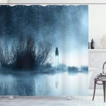 """Ambesonne Horror House Shower Curtain, Mysterious Women in Foggy Forest Bushes Nightmare Haze Lady Scary Hell Work of Art, Cloth Fabric Bathroom Decor Set with Hooks, 70"""" Long, Blue"""