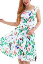 YMING Women's Vintage Cocktail Swing Dress Floral Print A Line Sleeveless Midi Dress