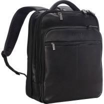 "Kenneth Cole Reaction Manhattan Colombian Leather Slim 16"" Laptop & Tablet RFID Business Backpack, Black, Medium"
