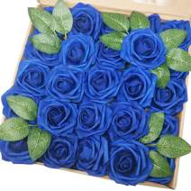 J-Rijzen Jing-Rise Artificial Flowers 50pcs Real Looking Royal Blue Fake Roses with Stem for DIY Wedding Bouquets Centerpieces Party Baby Shower Home Decorations (Royal Blue)