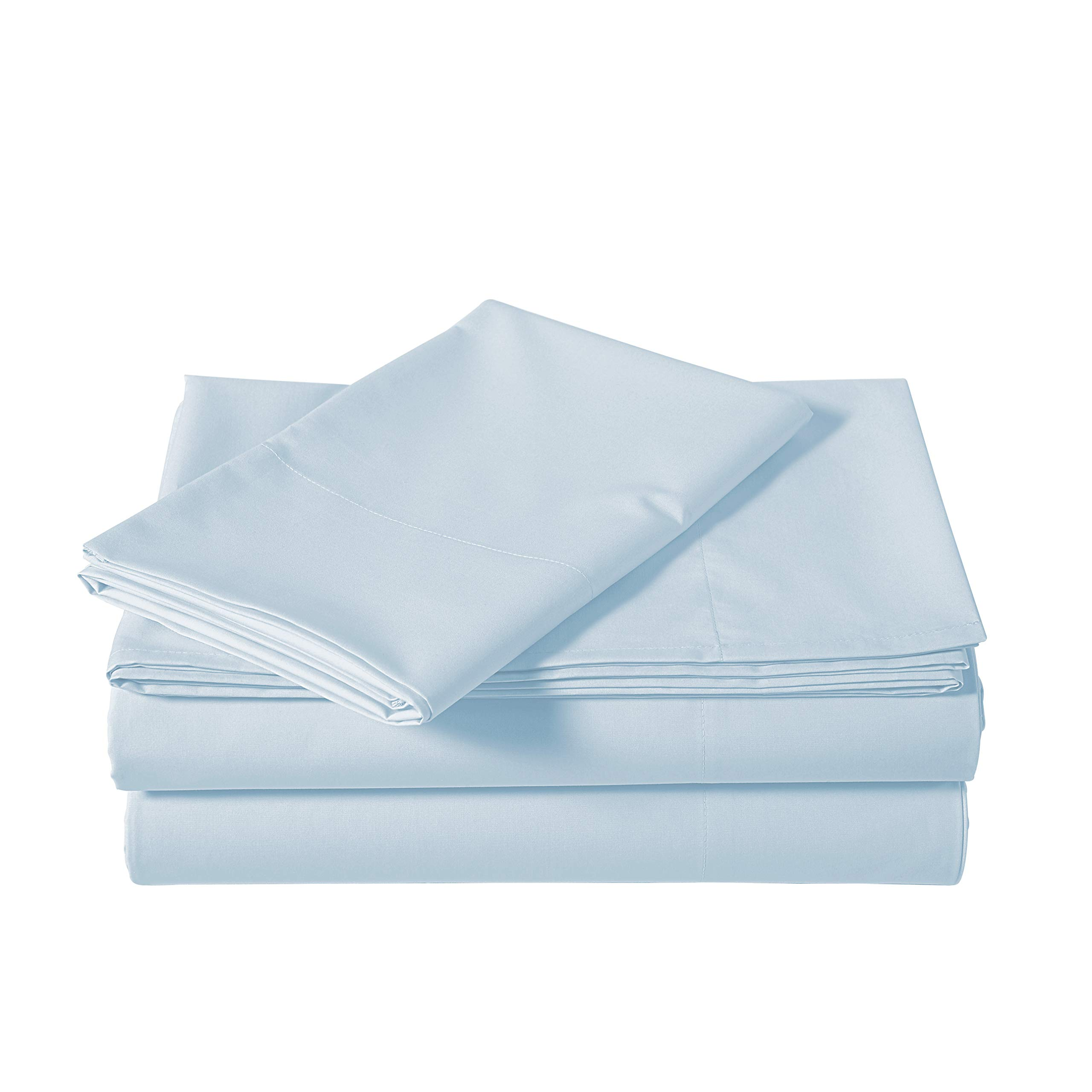 AmazonBasics Lightweight Percale Cotton Sheet Set - Twin XL, Blue Pastel
