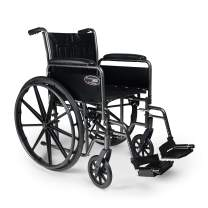 """Everest & Jennings Traveler SE Wheelchair, Detachable Full Arms & Swingaway Footrests, 18x16"""" Seat, Silvervein Color"""