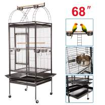 VECELA Bird cage Wrought Iron Flight cage Parrot cage 53/61/68inch Large Bird cage with Rolling Trolley Metal Wheels