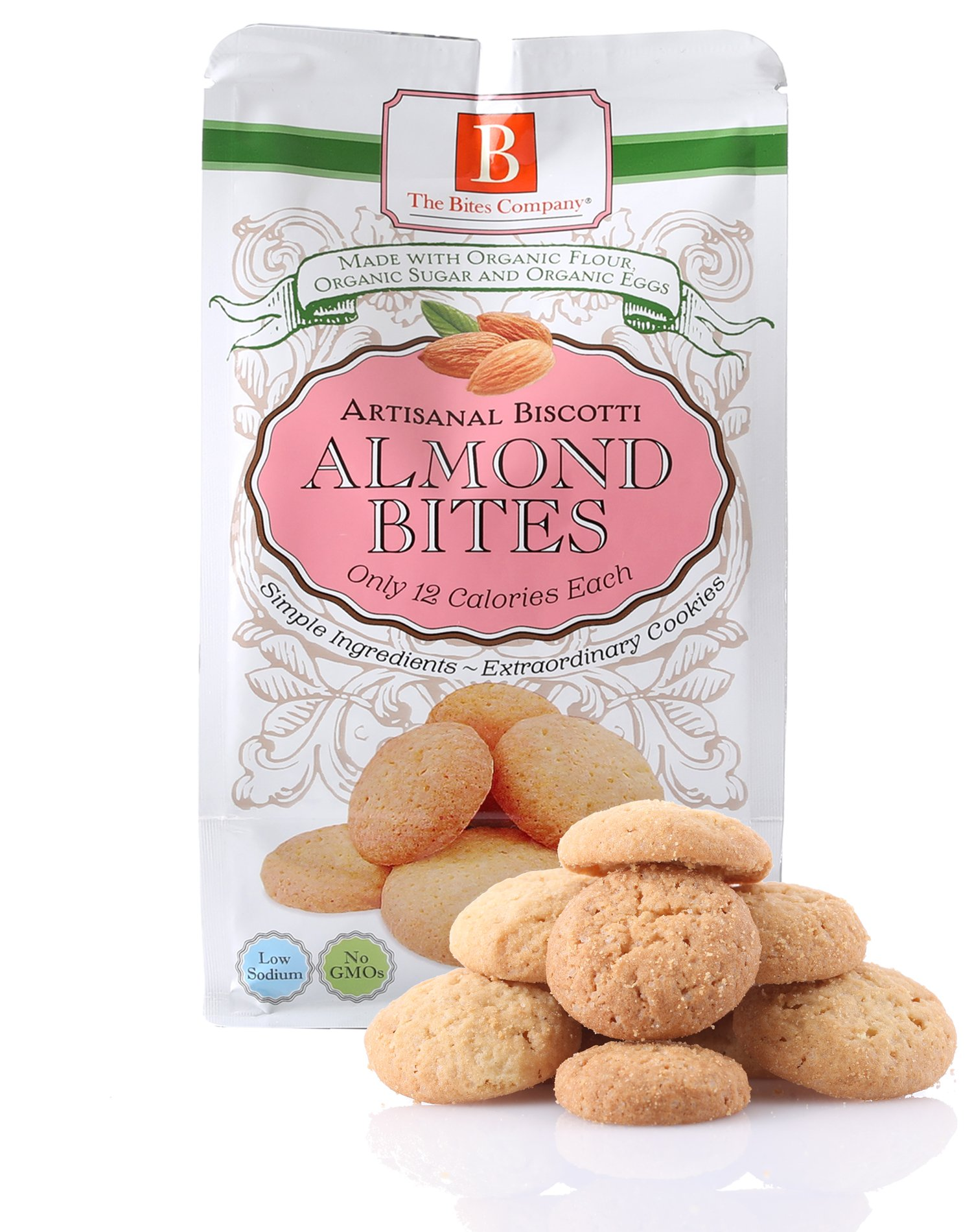 Biscotti Bite Size Cookies by The Bites Company – Certified Organic, NON GMO and Kosher, 4.5 Oz. bag Pack of 3 - Almond
